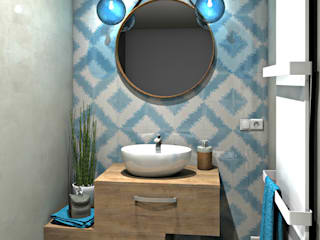 MJ Intérieurs Mediterranean style bathrooms Blue