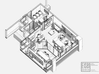 Isometría Corte3D Planta Lineal.: Oficinas de estilo minimalista por Eisen Guerrero Arquitecto
