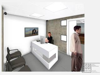 Vista 3D Recepción. Versión 4-02: Oficinas de estilo minimalista por Eisen Guerrero Arquitecto
