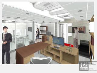 Vista 3D desde Escritorio ejecutivo.: Oficinas de estilo minimalista por Eisen Guerrero Arquitecto