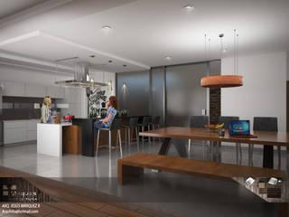 Residencia Bahía St-Maria Cocinas minimalistas de 3D MarqJes arquitecto Minimalista