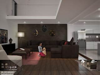 Residencia Bahía St-Maria Salones minimalistas de 3D MarqJes arquitecto Minimalista