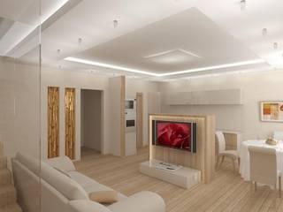 Воздушный интерьер студии на 2 уровнях: Гостиная в . Автор – Студия Архитектуры и Дизайна Марии Тупикиной, Классический