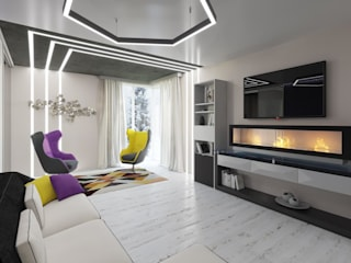 Salones de estilo minimalista de Студия дизайна интерьера Маши Марченко Minimalista