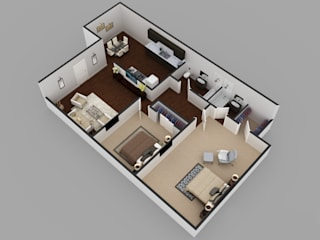 2Bhk Residential Modern House Floor Plan KCL-Solutions