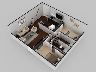 2Bhk Residential Modern House Floor Plan by KCL-Solutions