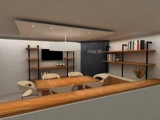 SALA DE JUNTAS CAMARATV: Estudios y despachos de estilo industrial por SIMETRIC ARQUITECTURA INTERIOR