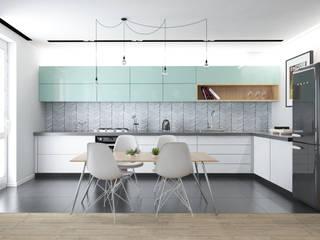 Skandynawska kuchnia w odcieniach mięty: styl , w kategorii  zaprojektowany przez Modeco Creative Studio