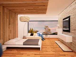 GarDu Arquitectos Minimalist bedroom Wood Brown