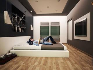 Спальни в . Автор – GarDu Arquitectos , Минимализм Камень
