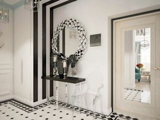 Цветущий миндаль Дизайн-студия Анны Игнатьевой Коридор, прихожая и лестница в модерн стиле Керамика Белый