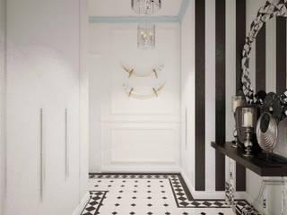 Цветущий миндаль Дизайн-студия Анны Игнатьевой Коридор, прихожая и лестница в модерн стиле Плитка Черный