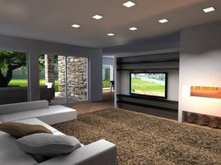 Living Moderno con parete attrezzata tv e camino: Soggiorno in stile  di Architettiamo Progetti On-Line