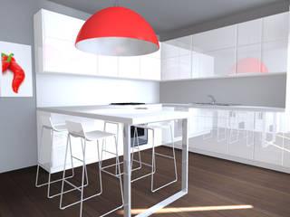 Cucina Minimal a contrasto bianco lucido  e rosso peperone: Cucina in stile  di Architettiamo Progetti On-Line