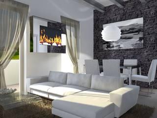 Soggiorno con parete in pietra, camino a bioetanolo e tappeto shabby chic: Soggiorno in stile  di Architettiamo Progetti On-Line
