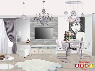 Розовый кварц Дизайн-студия Анны Игнатьевой Столовая комната в стиле минимализм