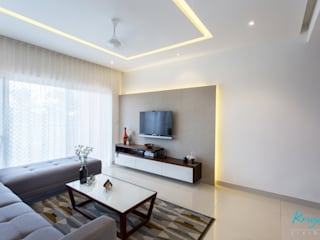 3 BHK apartment - RMZ Galleria, Bengaluru Modern living room by KRIYA LIVING Modern