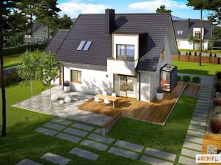 APRIL G1 - nowoczesny dom ze świetlistym wnętrzem : styl , w kategorii Domy zaprojektowany przez Pracownia Projektowa ARCHIPELAG,Nowoczesny