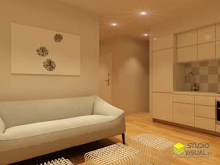 Pequeño apartamento Salones de estilo escandinavo de Studio Visual 3d Escandinavo