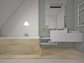 Łazienka na poddaszu, Radwanice Minimalistyczna łazienka od KN.wnętrza Minimalistyczny
