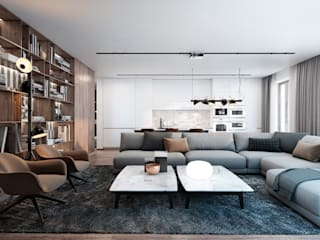 Neat interior for a young family: Гостиная в . Автор – Diff.Studio, Минимализм