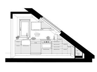 Cocina en bajocubierta. alzado.:  de estilo  de Estudo de Arquitectura Denís Gándara