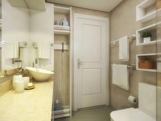 Banheiro Social | Espaços pequenos Banheiros modernos por PONTO ARQ. ARQUITETURA E URBANISMO Moderno