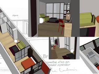 Agencement d'un appartement atypique SVM Claire Humeau Chambre moderne Beige