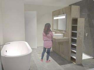 aménagement d'une salle de bain sous les toits SVM Claire Humeau Salle de bain moderne Jaune