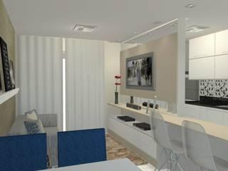 Projeto de interiores - Apartamento 503: Salas de estar  por Kestie Arquitetura