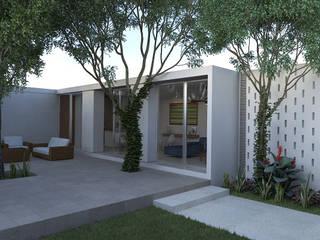 CASA PATIO | Playa del Carmen Q. Roo: Casas de estilo  por EMERGENTE | Arquitectura, Minimalista