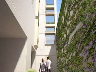 Vista de acceso: Pasillos y recibidores de estilo  por HMJ Arquitectura