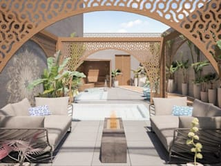 Exterior Spa: Spa de estilo ecléctico por HMJ Arquitectura