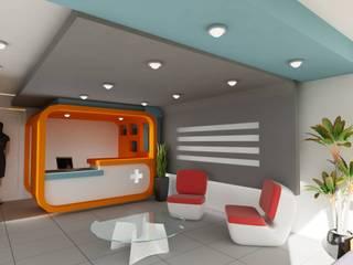"""AREA RECEPCION EN CLINICA DE EMERGENCIAS """"EM MEDICA"""": Estudios y oficinas de estilo  por OLLIN ARQUITECTURA"""