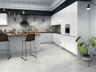 Replica Grey Travertine Effect Porcelain Wall and Floor Tile:  Kitchen by Total Tiles