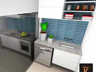 Cozinha Black and Blue por Thiago Zuza Design de interiores