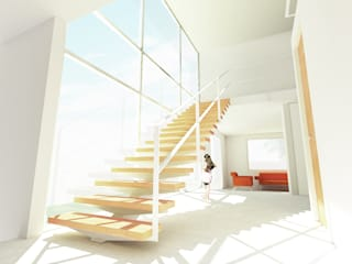 Casa Tecamachalco Pasillos, vestíbulos y escaleras minimalistas de HMJ Arquitectura Minimalista