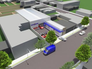 Tecnocar: Galerías y espacios comerciales de estilo  por Gastón Blanco Arquitecto,Industrial