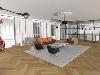 Appartement Haussmannien, Lyon. Salon moderne par Sacha Goutorbe | Architecte d'intérieur Moderne