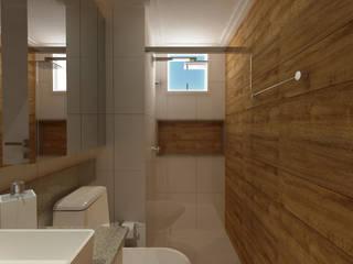 Sanitários do casal Rafael e Carla: Banheiros  por Betth Garcia Arquiteta   Arquitetura e Design de Interiores   Projetos Consultoria e Assessoria,Moderno