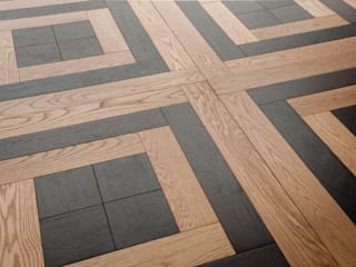 WOODEN TILES COLLECTION Eclectic style corridor, hallway & stairs by Ciambella Legnami Srl Eclectic