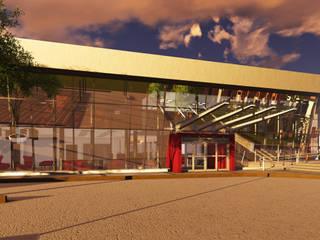 DISEÑO FACHADA RENDERS: Estudios y oficinas de estilo moderno por LOSADA ARQUITECTURA