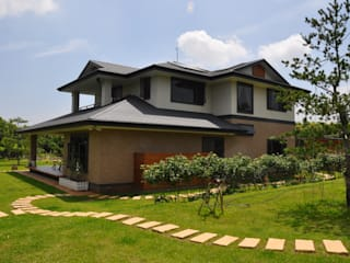 SHIHYAO_苗栗璞玉宅 翔霖營造有限公司 Classic style houses Wood-Plastic Composite Brown