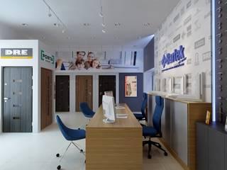 Projekt aranżacji wnętrza nowoczesnego salonu sprzedaży drzwi i okien Bartek od MIRAGE STUDIO Sebastian Rzymski Nowoczesny