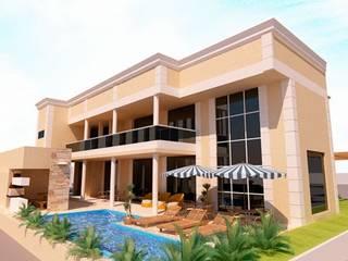 Residencia Portinari Vitruvius 3D Casas modernas Concreto Ambar/dourado