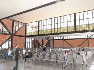 Salón usos múltiples Ex.Feria Celaya interior: Salas de estilo  por AURA arquitectos urbanistas asociados