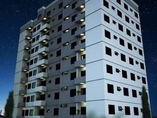 Prédio - Edifico - Jaguariuna Vitruvius 3D Casas modernas Concreto reforçado Cinza