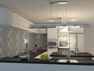 Reforma de Apartamento Vitruvius 3D CozinhaBancadas Cerâmica Multi colorido