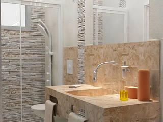 Reforma de Apartamento Vitruvius 3D BanheiroAcessórios Mármore Ambar/dourado