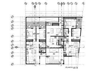 Planta Alta: Pasillos y recibidores de estilo  por HF Arquitectura